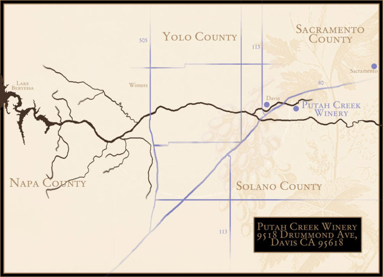 Road map of Putah creek for a winery, real world location