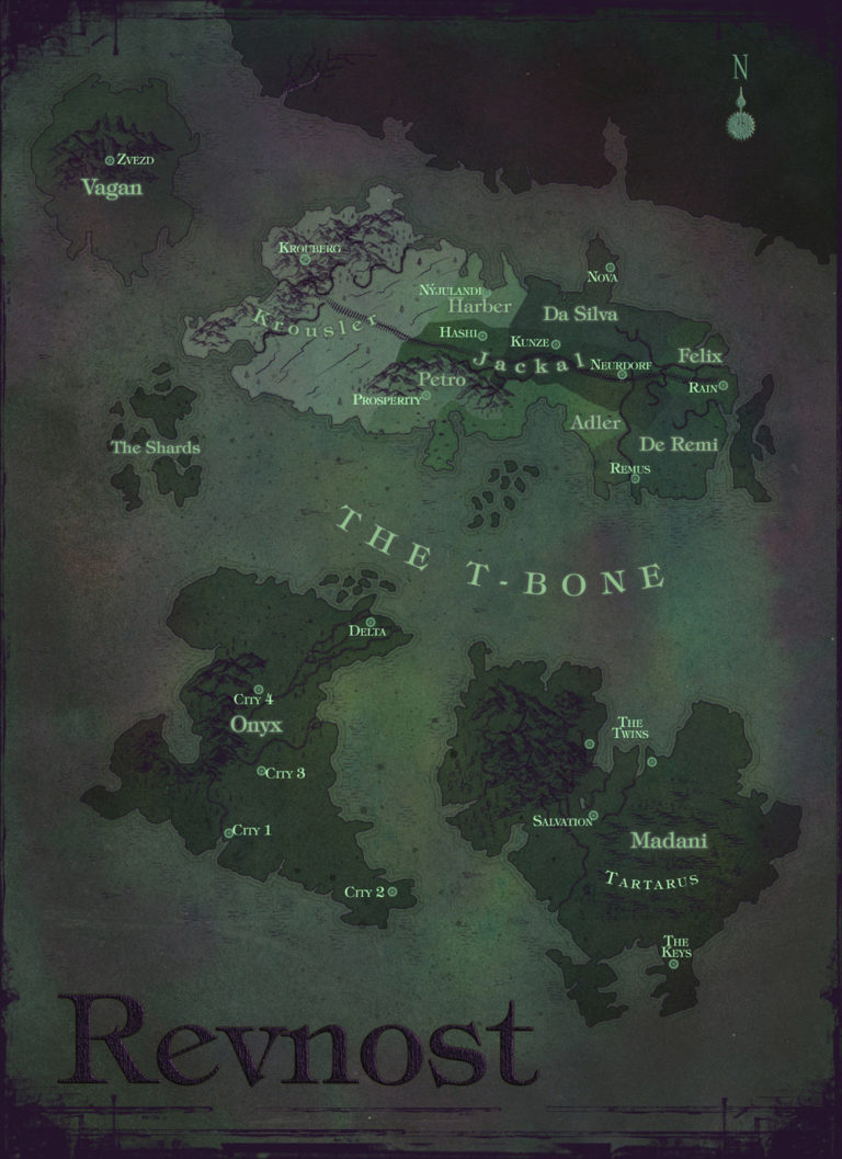 Map of Revnost dark purple and green post apocalyptic map