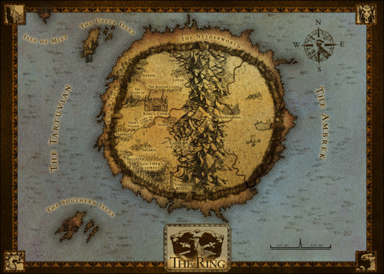 Ringworld Rise of the Dragons map with frame and blue water
