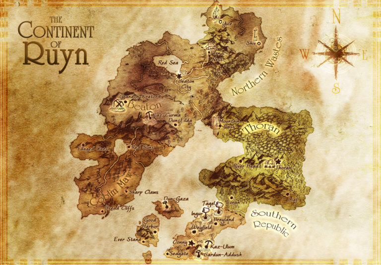 Continent of Ruyn – traditional parchment style fantasy map of a continent