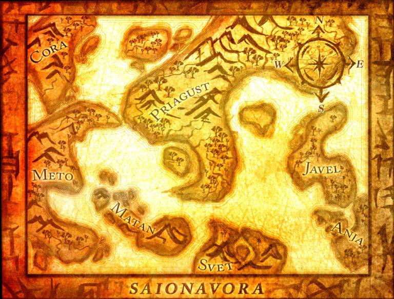 Saionavora Map – Sumi-E Japanese ink brush stroke style fantasy map with frame border