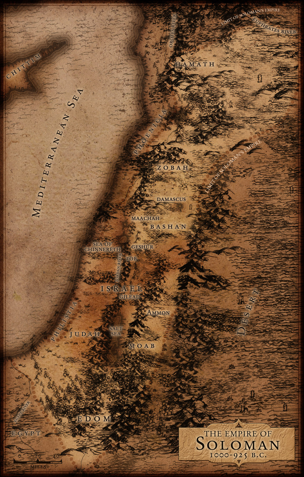 Solomon map of Israel in old fashioned parchment style.