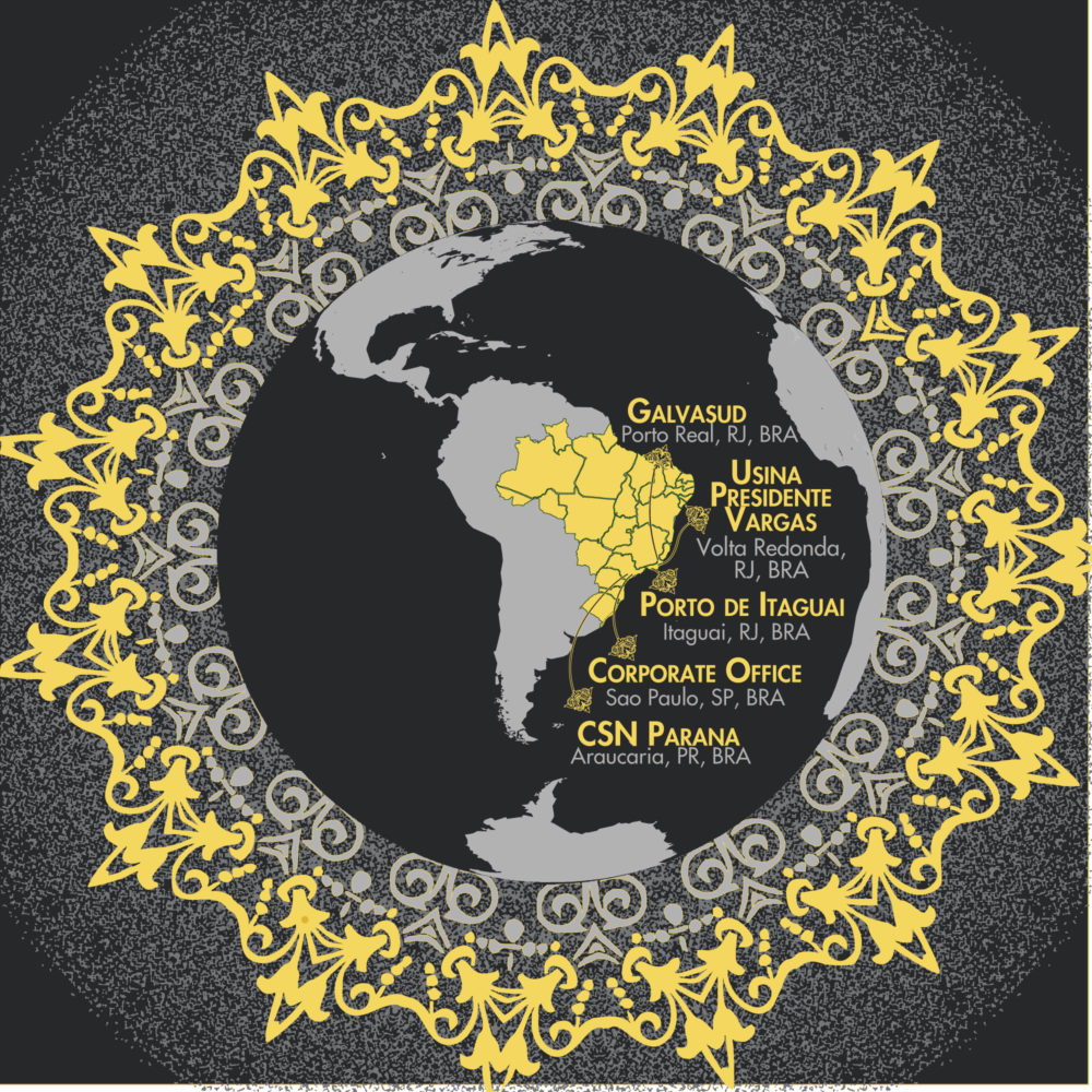 Gold and gray map of South America with locations highlighted Vector Illustrator map