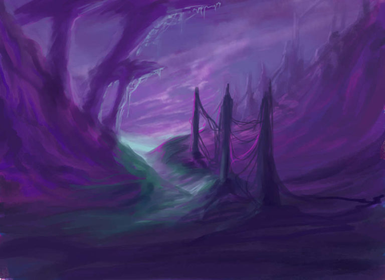 Almaera – purple mountains and clouds with strange trees fantasy concept art