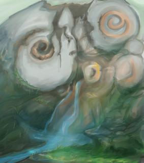 Skull temple fantasy concept art watercolor skull cave