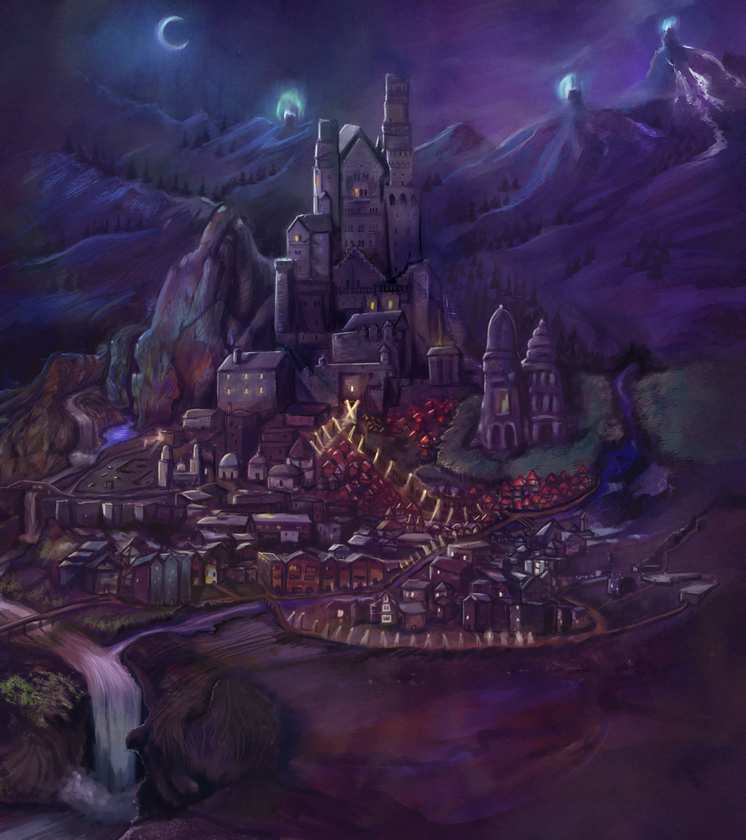 Purple Night Fantasy City in the Mountains watchtower castle waterfall ruins fantasy concept cover book cover art Endoth Tiffany Munro Almaera castle in the mountains beautiful concept art 2018 digital impressionism painted cityscape night moon glow eerie