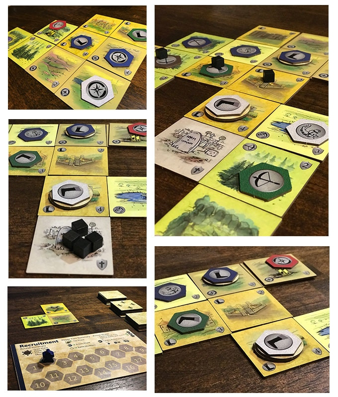 Gameplay photograph for Fields of Agincourt Strategy Tile Placing board game