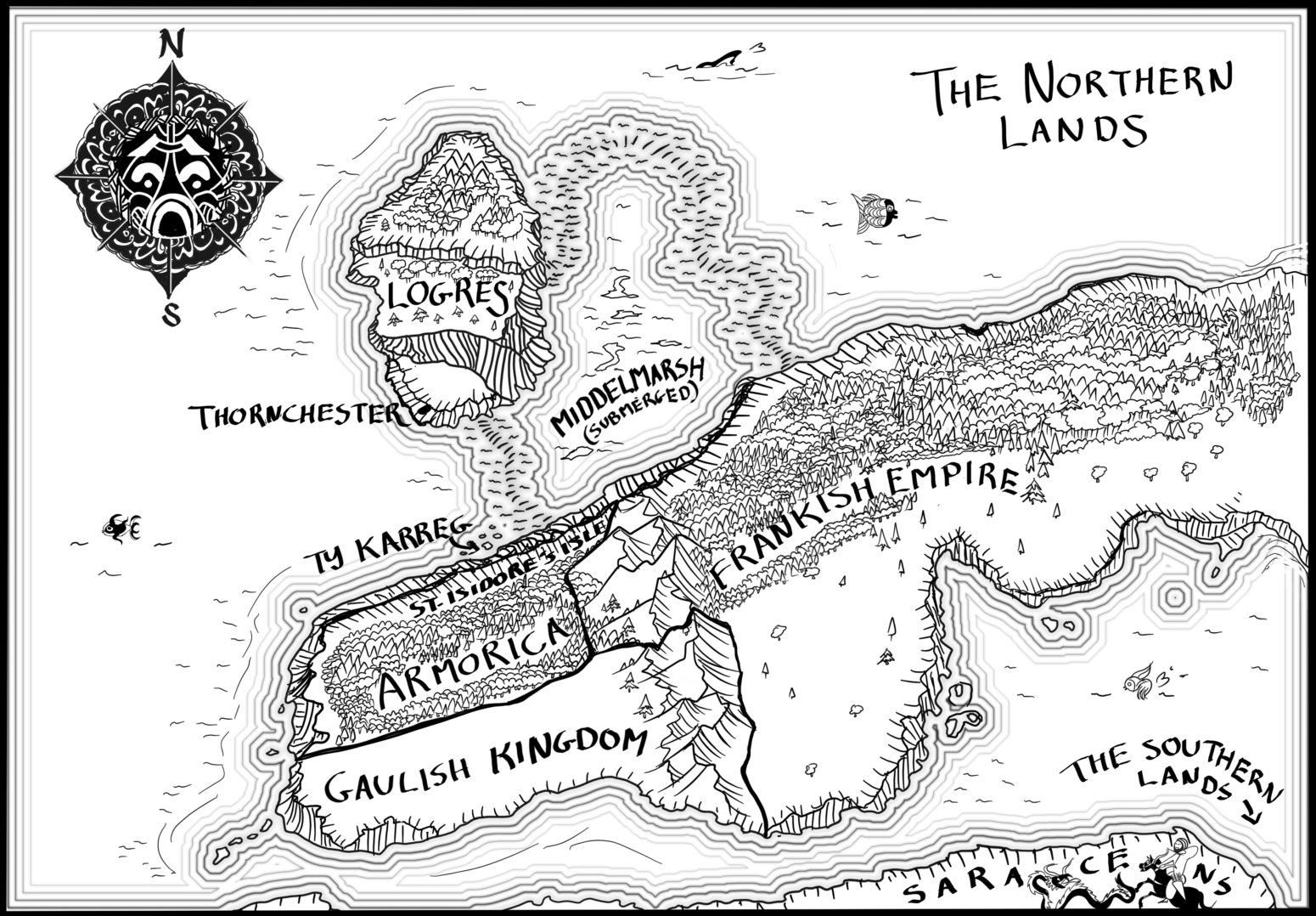 Ink hand drawn Tolkien style simple fantasy map
