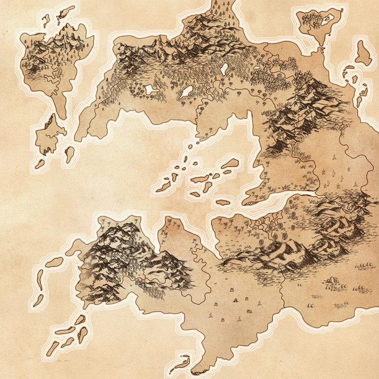 Basic parchment Tolkien-style fantasy map without text, an entire terrain designed by me for a roleplaying game