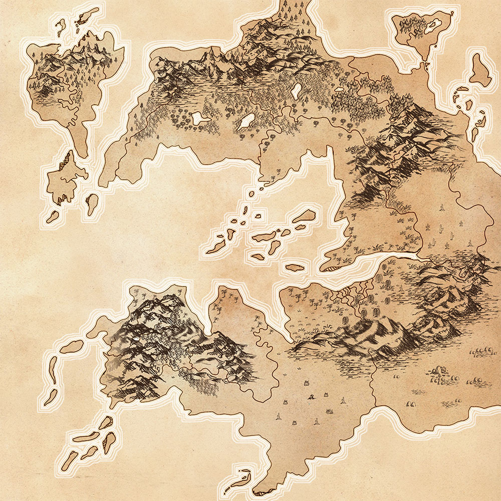 Right-justified fantasy map with islands and mountains and desert, terrain inspired by Europe.