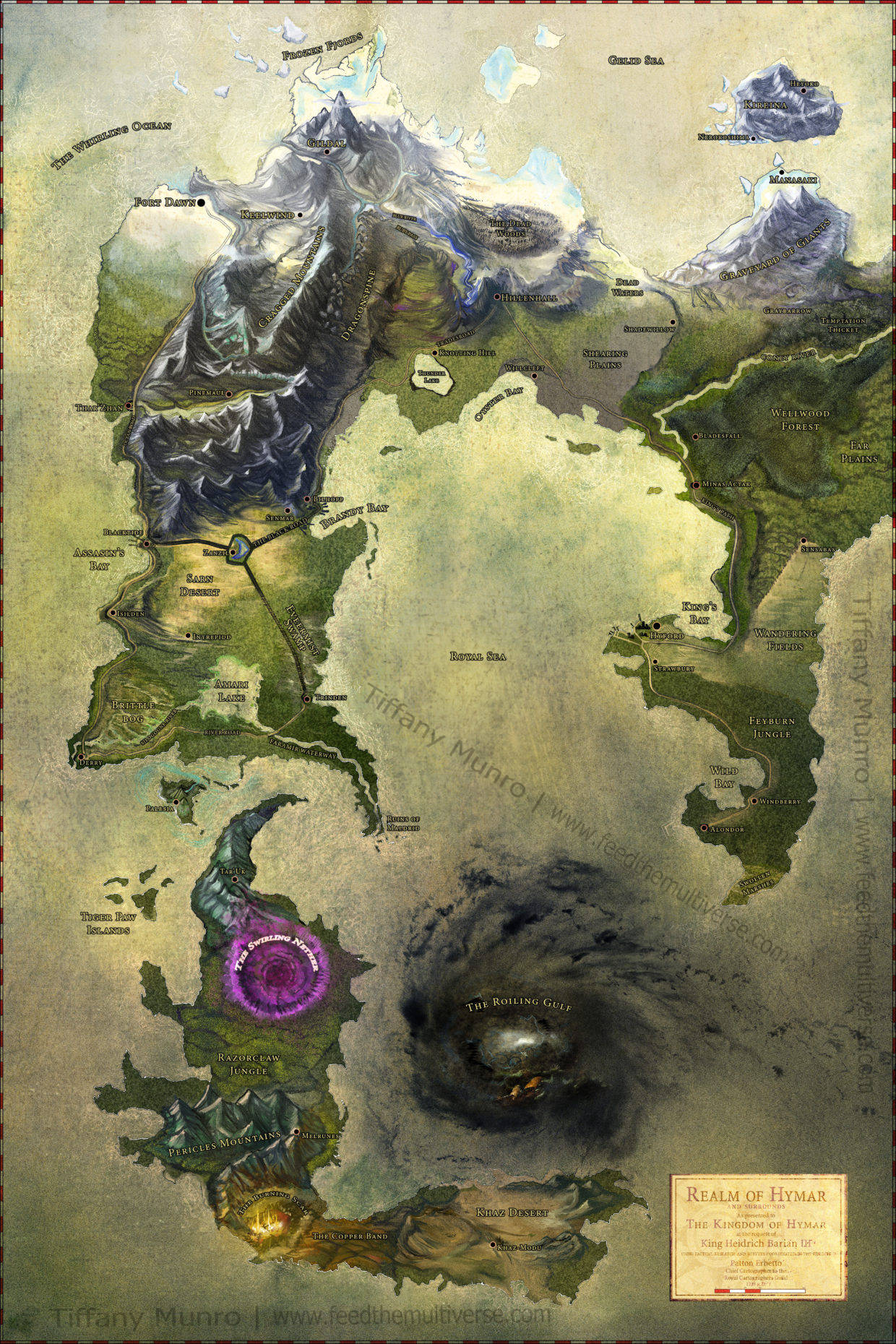 Full color painted fantasy map poster custom commission one of a kind fantasy worldbuilding consultant maelstrom storm nether eye ice mountainous fiery fire volcano desert continents Dungeons and Dragons 5e DnD how to get a map made for a DM make a map for an RPG cartographer for roleplaying game