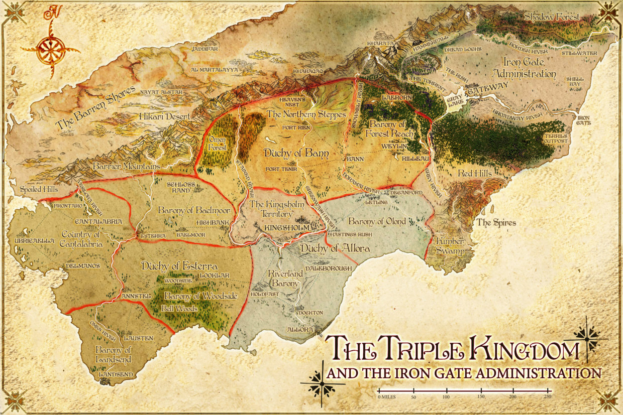 Triple Kingdom fantasy parchment map of three provinces lord of the rings style custom fantasy poster worldbuilding mountain range