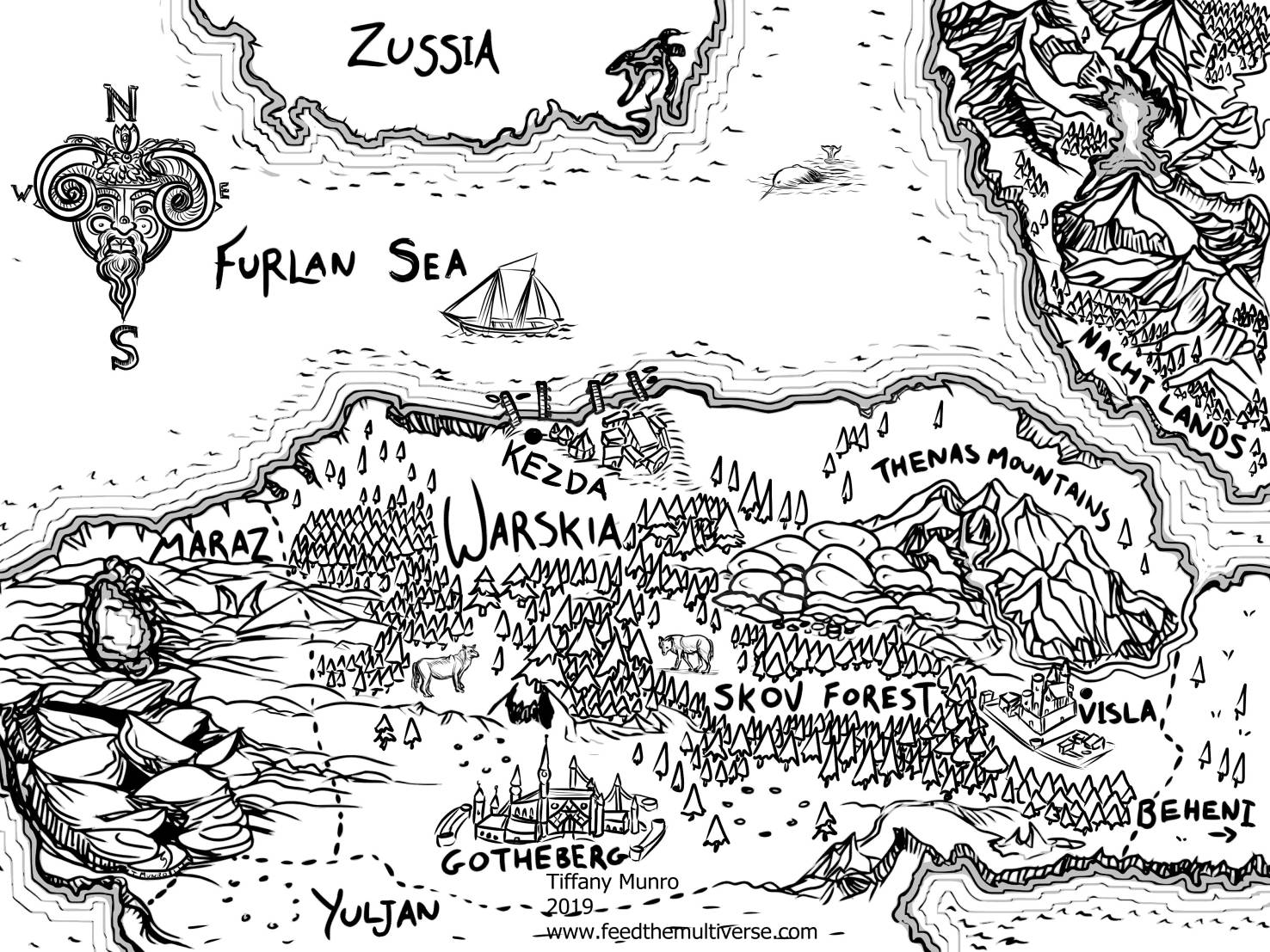 black and white fantasy map novel tolkien stylel lineart ink hand lettered caligraphy