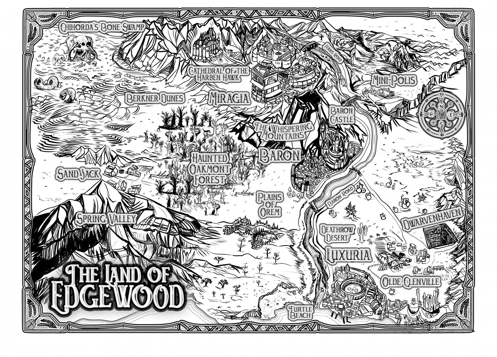 Map of the Realm of Edgewood black and white ink bw fantasy country map for RPG youtube series custom fantasy region country kingdom with unique border beautiful fantasy made up lands custom commission artwork