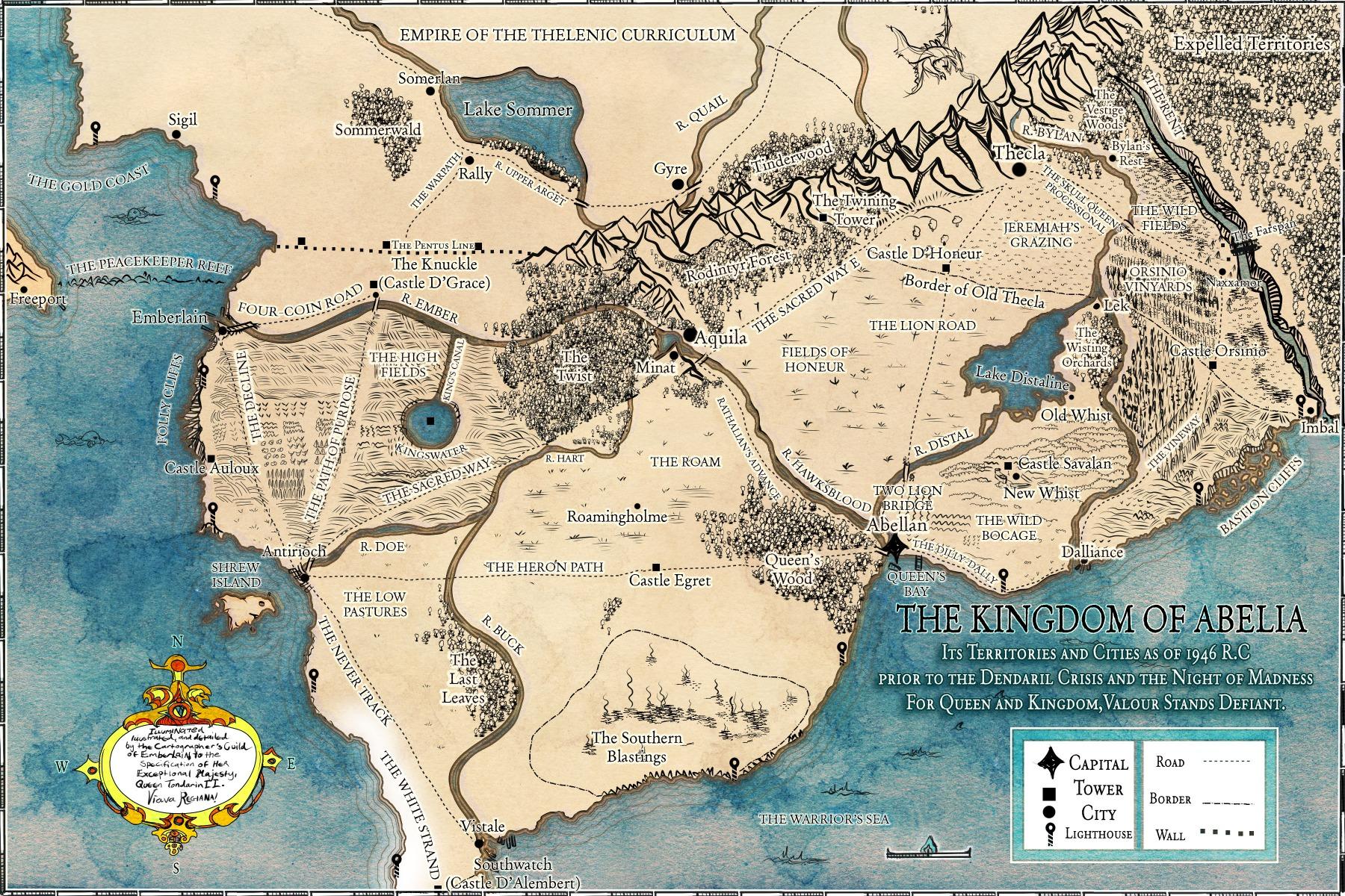 Abelia The Flyblown Crucades portfolio fantasy map for author novelist Tim Peers