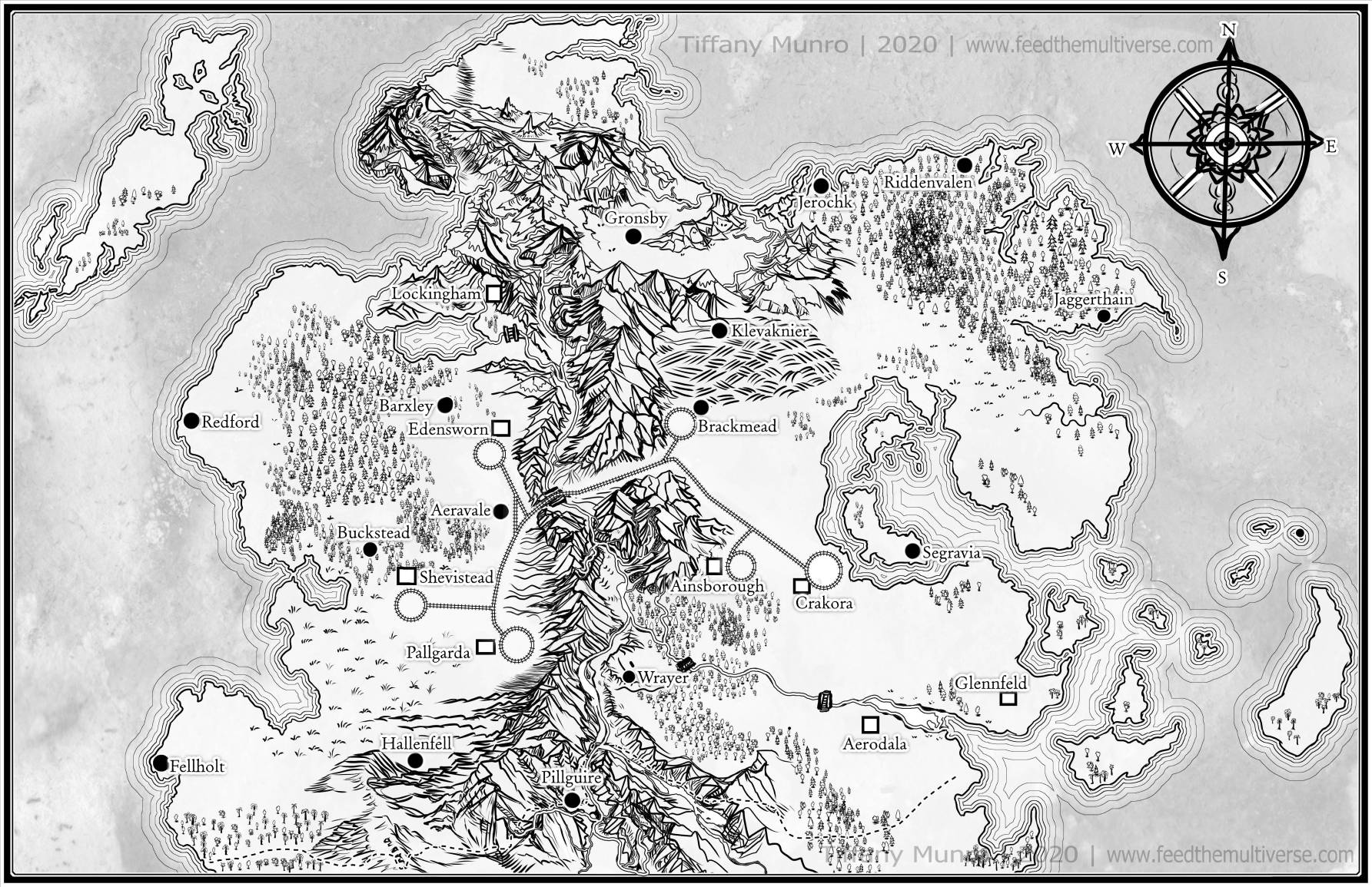 Black and White fantasy map for novel bw b&w ink tolkeien style fantasy sff speculative fiction how do I get a map for my novel how to commission a custom map for my fantasy book science fiction book dungeons and dragons writers authors cartographer cartographers cartography