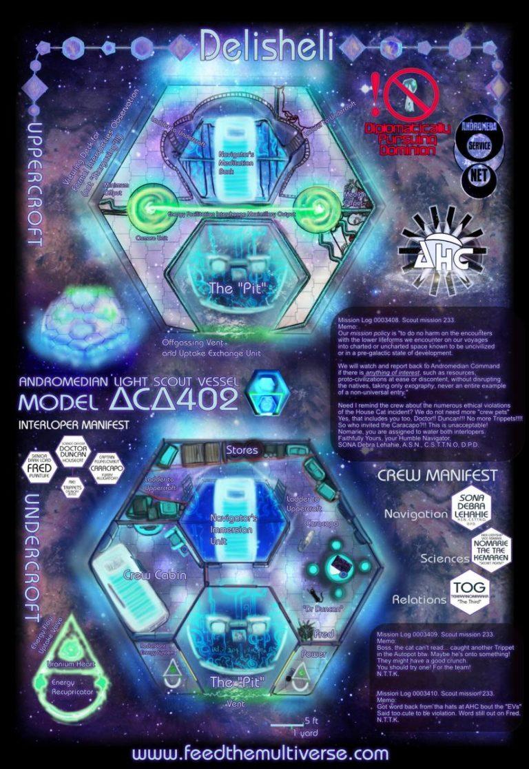 Delisheli – Andromedian Scout Craft Delta C Delta 402 – Sci Fi UFO map