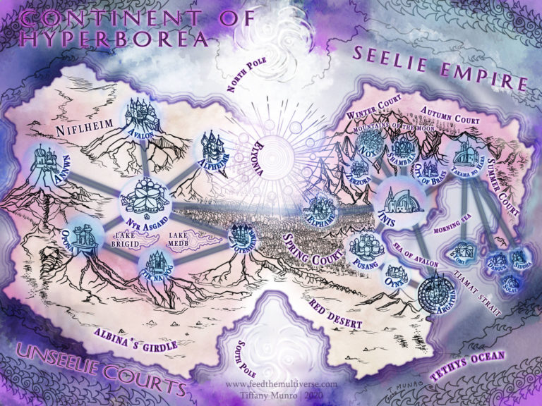 Seelie and Unseelie Empire and Courts map of the fae hollow earth argartha mythology fantasy novel fairy Nyx NY custom fantasy map purple cartography dreamlike dreamy beautiful map cities in circles round force field science fiction ley lines