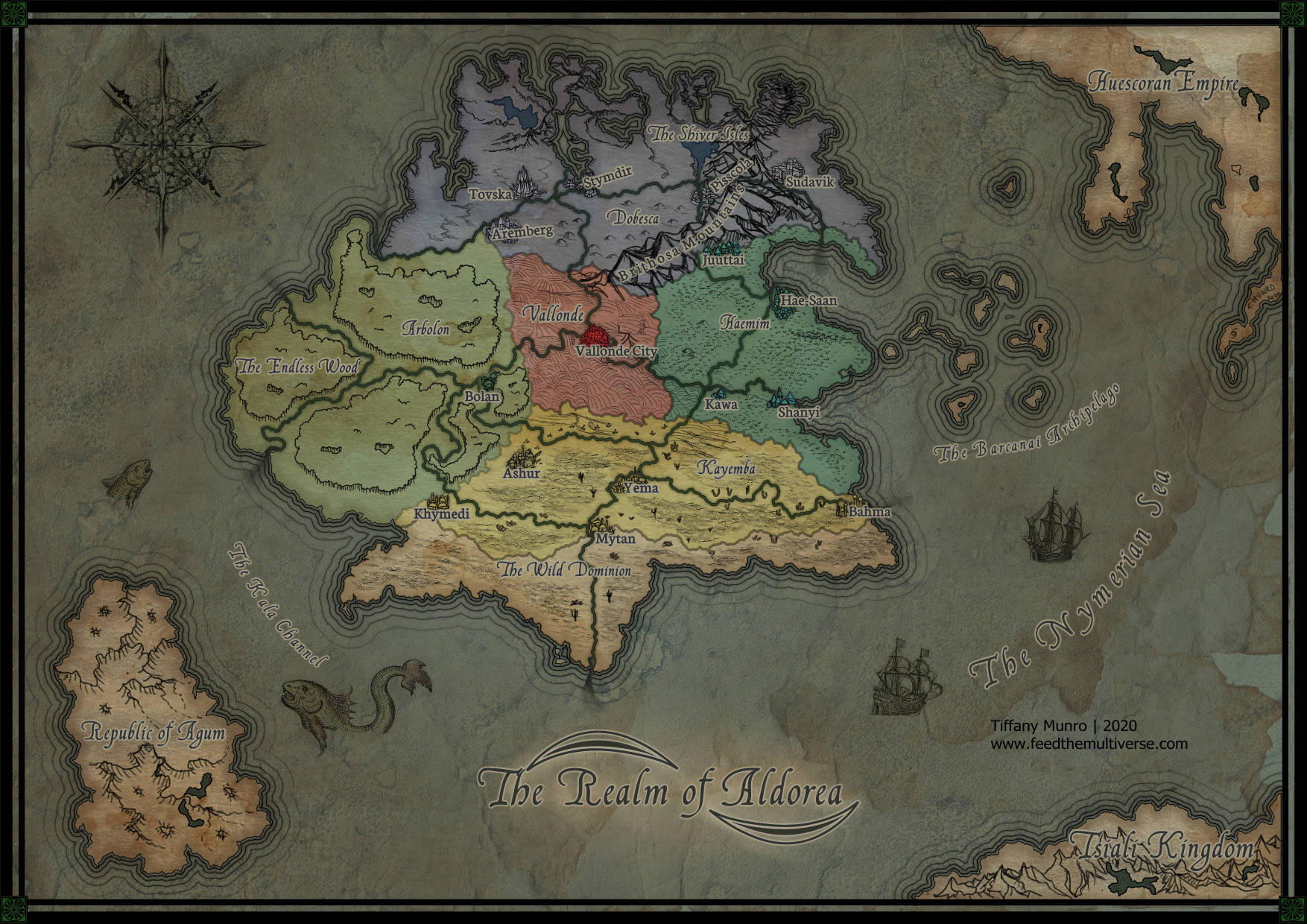 Continent of Aldorea fantasy map flat color countries watercolor on parchment medival style fantasy map medieval hand drawn map by Tiffany Munro cartography custom cartographer fantasy world building consultant how to get a custom map for my DnD D&D Pathfinder game 5e 4e 3.5e 3e