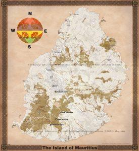 Fantasy map of Marutius with volcanoes