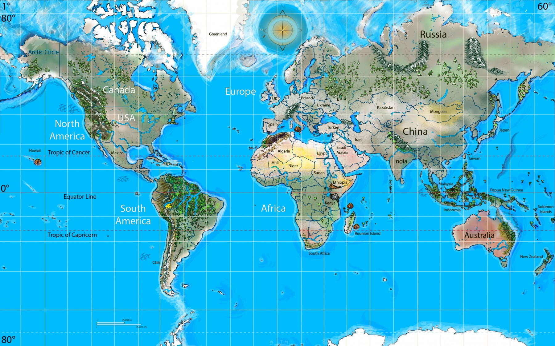 Mercator Map of the World for kids vector painting Earth cartography custom map for teacher