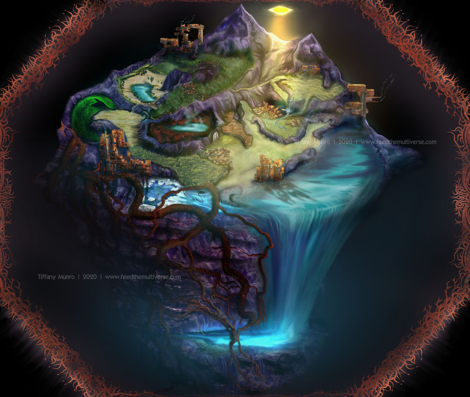 Surreal pyramid fantasy painting world one of a kind RPG map waterfall in microcosmic enclosed world with veins and magic sphere, flat sun, domain