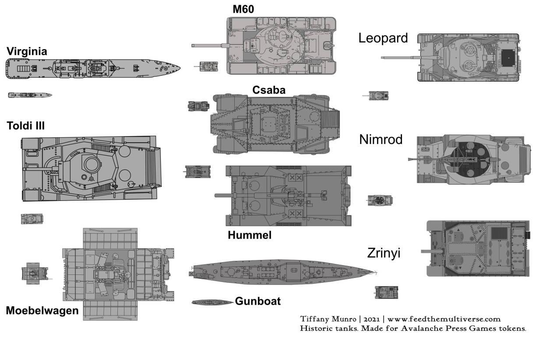 Virginia M60 Leopard Csaba Nimrod Toldi iii Hummel Zimrod Moebelwagen Gunboat Zrinyi For World War combat token game Avalanche Press tanks and boats gameplay tokens board game