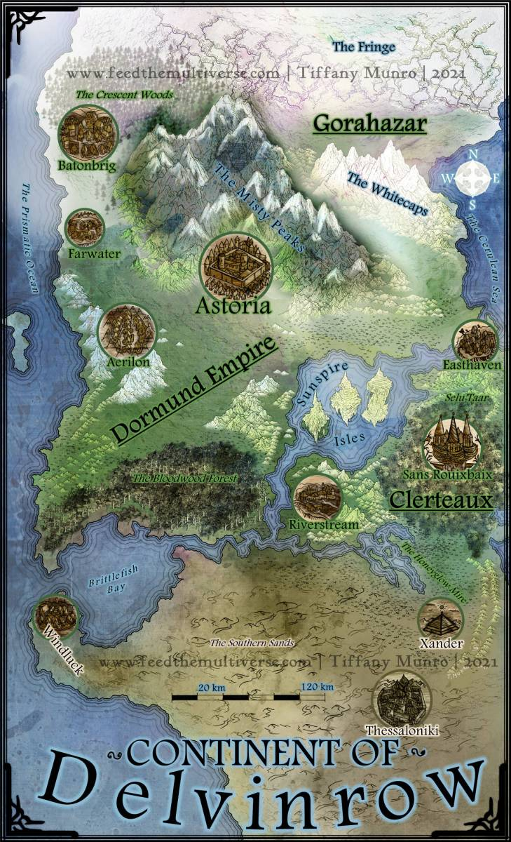 The Continent of Delvinrow – fantasy map with city icons
