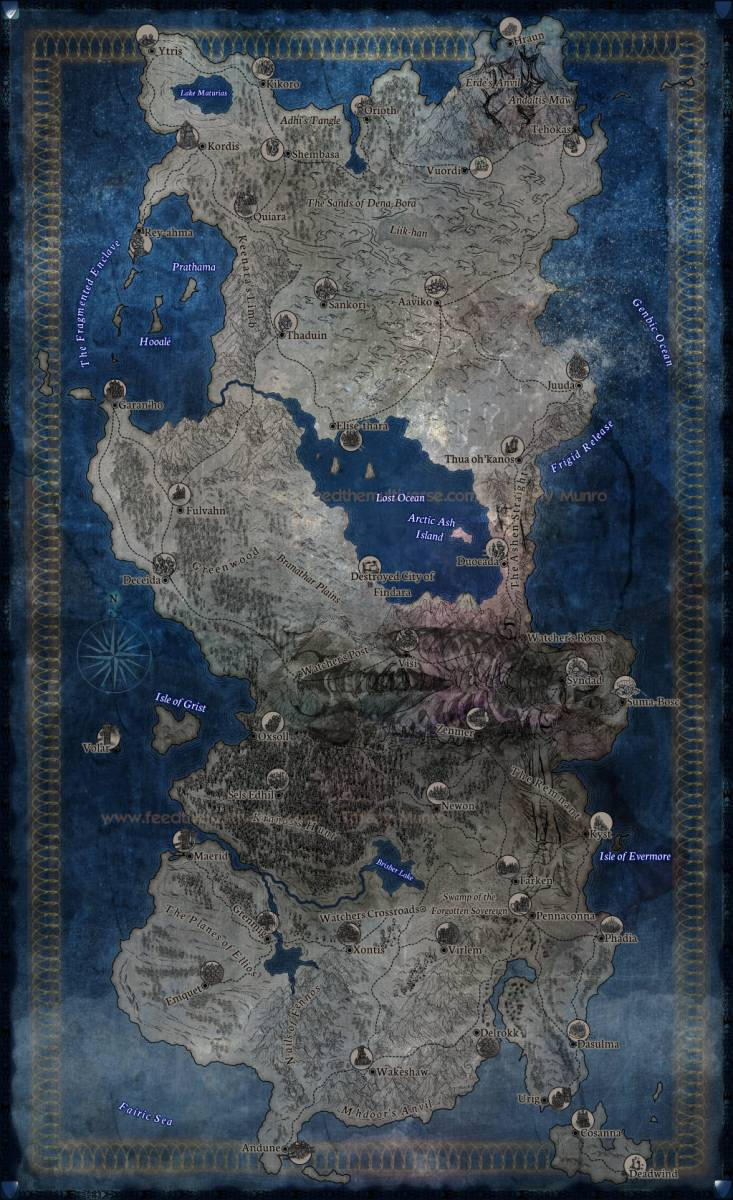 Dark Blue Fantasy Continent with Giant Ribs City