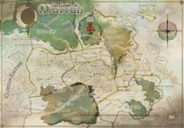 Lands of Marrah Parchment Fantasy Map