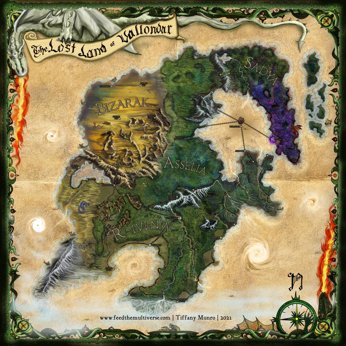 Vallondar parchment map painting custom poster commission for dungeon master dungeons and dragons dragon frame compass banner how to get a custom map made for my RPG campaign