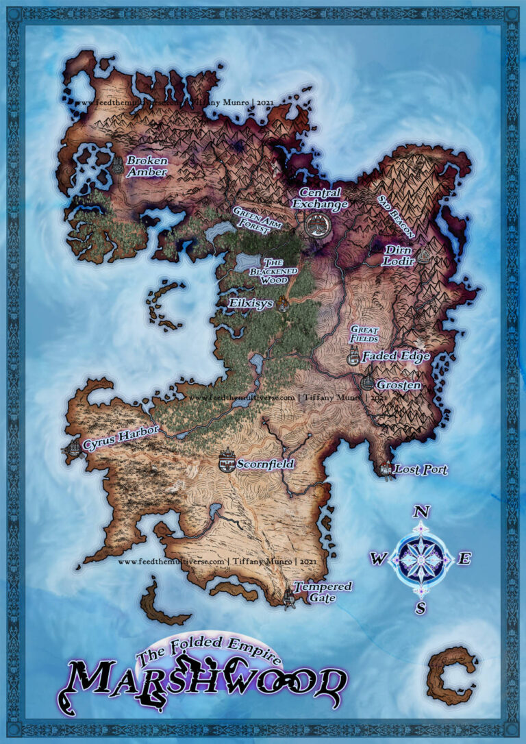 Marshwood Blue Fantasy Map Watercolo and Ink style hand drawn mountains inked Tolkien style cartography for novel TTRPG tabletop Dungeons and Dragons 5e adventure